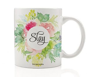 Slay Coffee Mug, Pretty Floral Gifts for Her, 11oz Ceramic Cup Sayings Killing It Impressive Girl Birthday Christmas Funny Present Idea for Student Sister Friend Bestie Coworker Mom Digibuddha DM0244