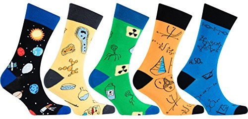 Socks n Socks-Men's 5-pair Luxury Cotton Science Funny Cool Socks Gift Box