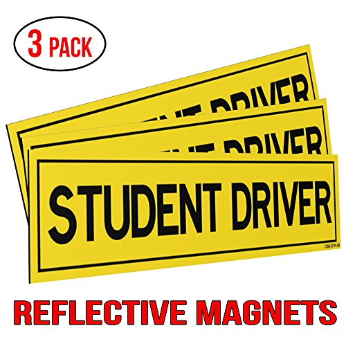 Reflective Student Driver Magnets for Car – Set of 3