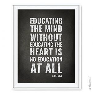 Andaz Press Teacher Appreciation Wall Art, Chalkboard Print, Educating the mind without educating the heart is no education at all, Aristotle, 8.5×11-inch, 1-Pack, UNFRAMED Reviews