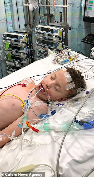 Tommy is pictured on the day of his cardiac arrest atBirmingham Children's Hospital