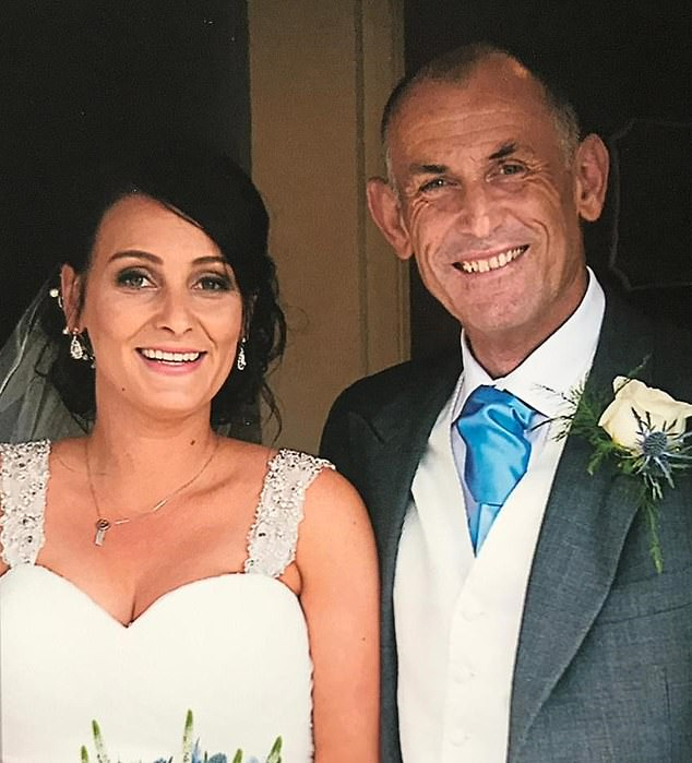 Chris Davey, 59, of Bristol, was diagnosed with pancreatic cancer in April 2016 when his stools wouldn't flush and his hands and feet were'off the scale' itchy. It was just three months before the wedding of his daughter, Lisa Ball, 34 (pictured)