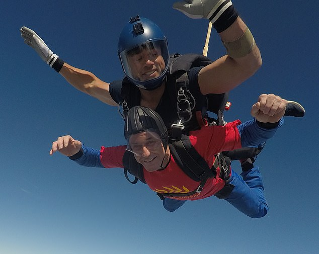 Mr Davey was determined to keep positive – despite only ever reading things online that made him scared. He now fundraisers for charities. Pictured, doing a charity skydive