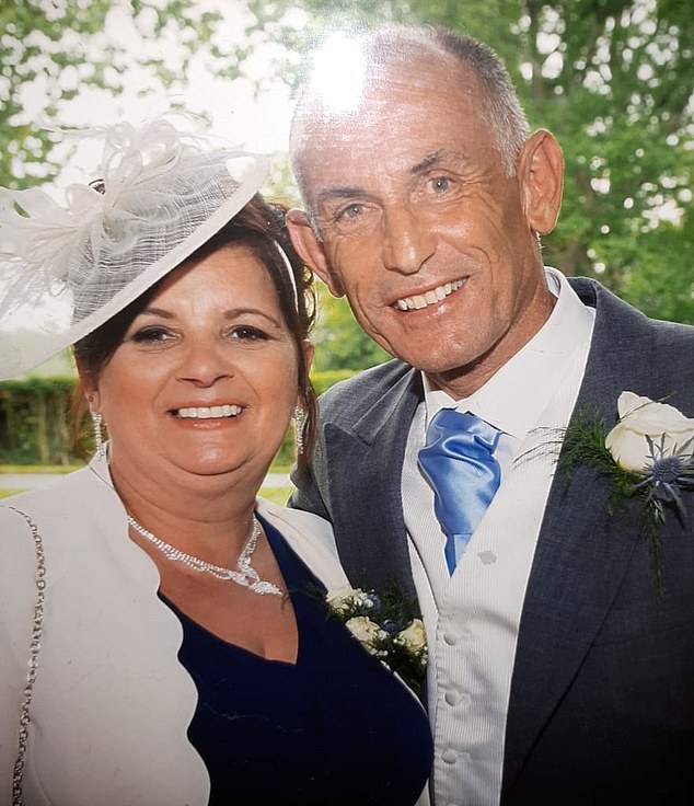 Four days after Mr Davey's daughters wedding, he had life-saving surgery to remove the tumour. Pictured with his wife, Rachael, at the wedding in 2016