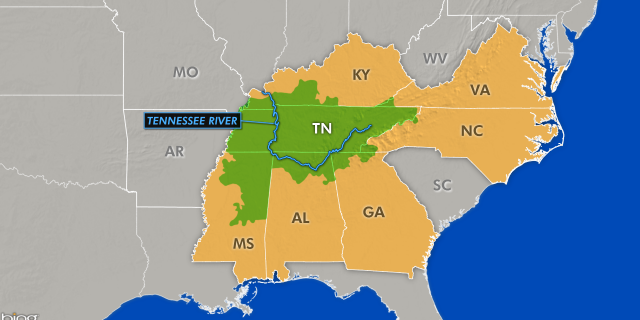 The Tennessee River is in the Tennessee Valley which stretches through seven southern states.