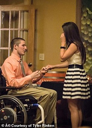 Both devout Christians, they soon decided they wanted to marry, and Chris popped the question in 2015 at a favorite restaurant of theirs in Michigan, with 'Will You Marry Me?' spelled out in tealight candles on the floor
