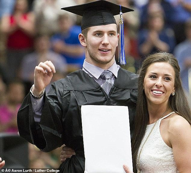 The couple got engaged in 2015, the day before Chris walked to pick up his MBA