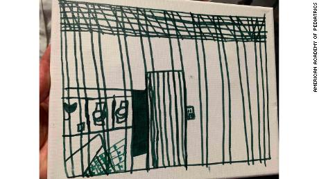 A child's drawing depicting time spent in US Customs and Border Protection custody.