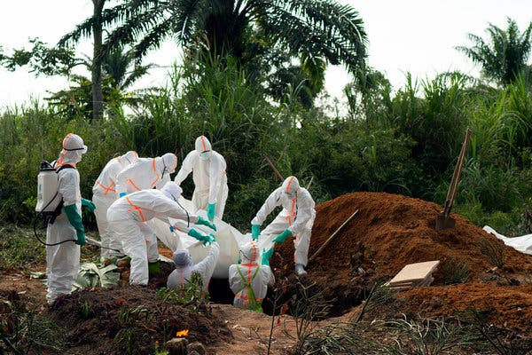 An Ebola victim was buried on Sunday in Beni, Congo.