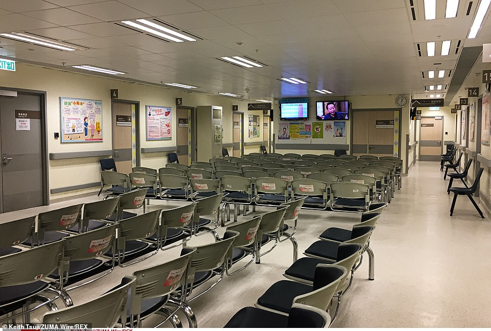 An empty waiting room in a hospital in Hong Kong, where medical staff have been on strike for four days demanding government closes the border with China
