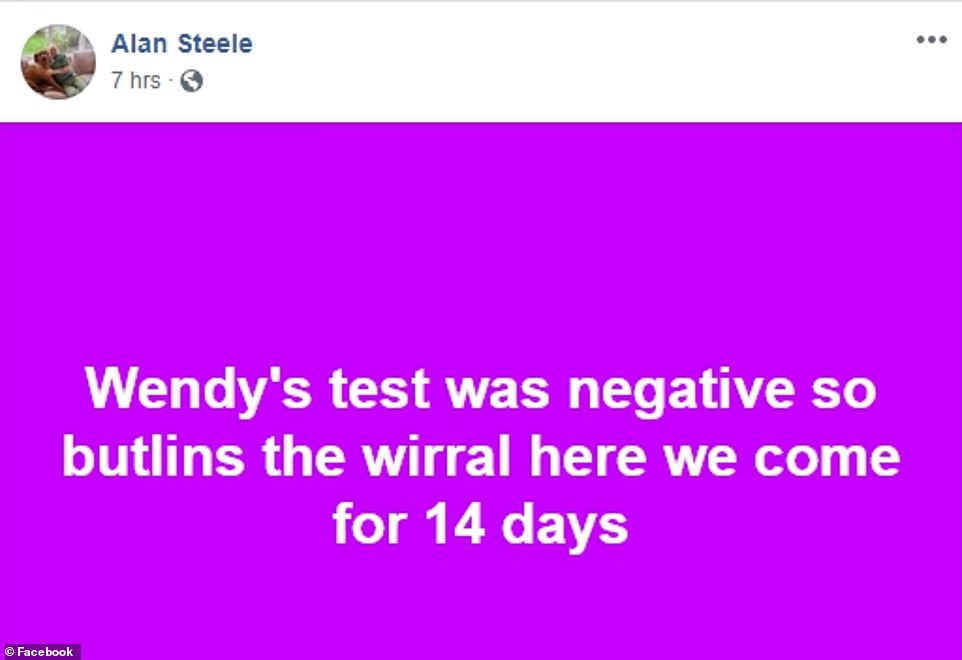 Mr Steele joked thatthey'd be going to 'Butlins, the Wirral' for 14 days - a reference to being quarantined at Arrowe Park Hospital in Merseyside for a fortnight
