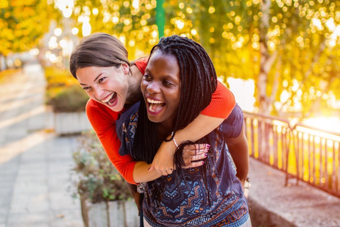 Two women having fun