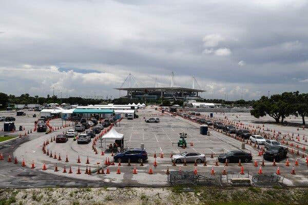 Cars lined up at a rapid antigen coronavirus testing site at Hard Rock Stadium near Miami last month.