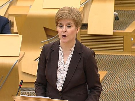 Nicola Sturgeon (pictured yesterday) has unveiled a dramatic 'circuit breaker' squeeze to coincide with the school half-term north of the border